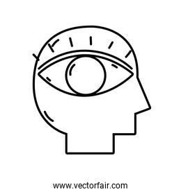 line silhouette man with eye vision design inside