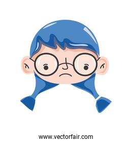 girl head with glasses and hairstyle design