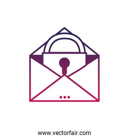 silhouette e-mail mesage with padlock insite to security information