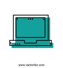laptop technology equipment with screen and keyboard