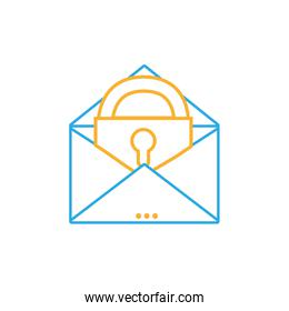 line e-mail mesage with padlock insite to security information