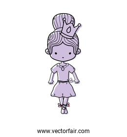 color girl dancing ballet with crown decoration