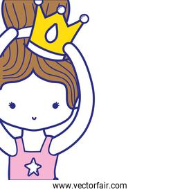 colorful girl dancing ballet with bun hair design and crown decoration