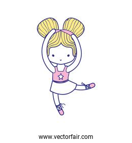 colorful girl dancing ballet with two buns hair design and professional clothes