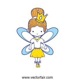 colorful girl dancing ballet with bun hair and wings