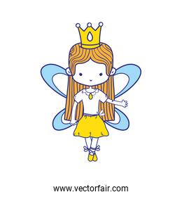 colorful girl dancing ballet with crown and straight hair