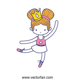 colorful girl dancing ballet with crown decoration and professional clothes