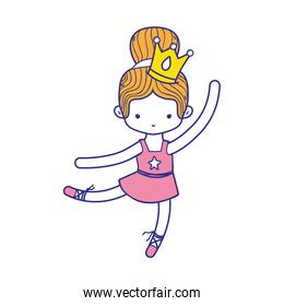 colorful girl practice ballet with bun hair design and professional clothes