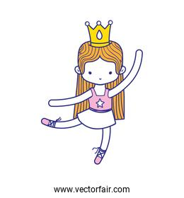 colorful girl dancing ballet with professional clothes and crown