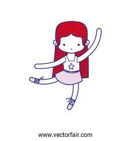 colorful ballerina dancer ballet with straight hair and clothes