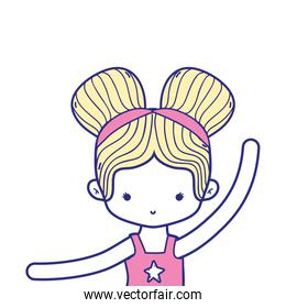 colorful girl practice ballet with two buns hair design