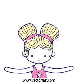 colorful girl dancing ballet with two buns hair design
