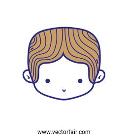 colorful boy head with middle parted hair