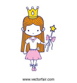 colorful girl dancing ballet with magic wand