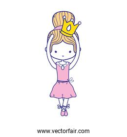 colorful girl dancing ballet with crown design
