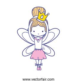 colorful girl dancing ballet with crown and wings design