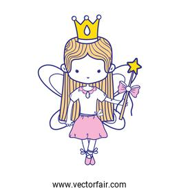 colorful girl dancing ballet with crown and straight hair over white