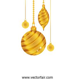 gold oval and circle balls hanging decoration christmas