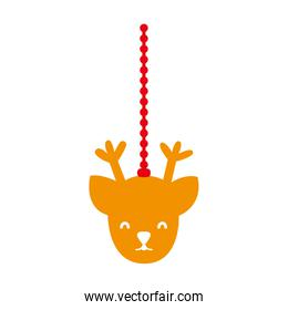 colorful reindeer head hanging to merry christmas decoration