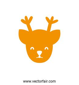 full color reindeer head decoration to christmas design