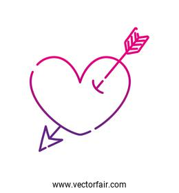 neon silhouette heart symbol of love with arrow style inside