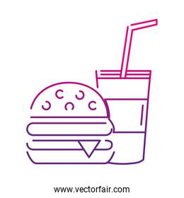neon silhouette hamburger and beverage in the cup fast food