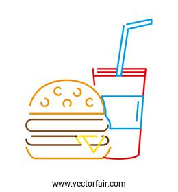 color line hamburger and beverage in the cup fast food