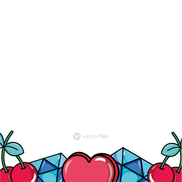 cute fashion patches background decorative