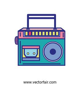 colorful radio equipment to listen music with cassette