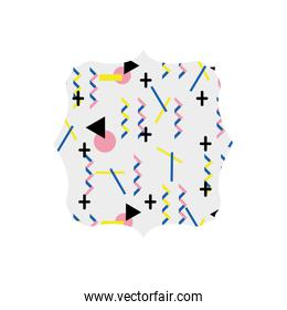square with memphis geometric art background
