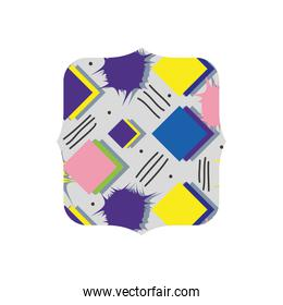 quadrate with memphis style geometric background