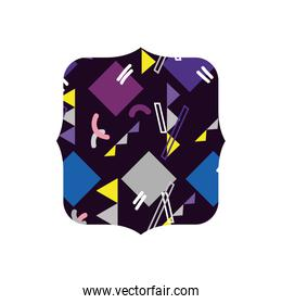 quadrate with graphic abstract memphis background