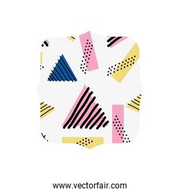 quadrate with geometric style memphis background