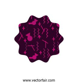 color star with memphis geometric art background