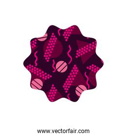 color star with memphis geometric figures background