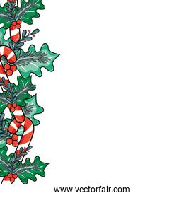 merry christmas decoration with leaves and branches