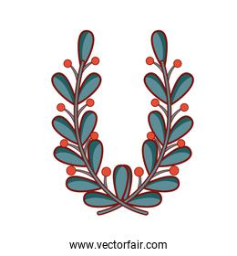 natural branches leaves with flowers design