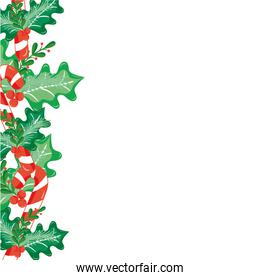 colorful merry christmas decoration with leaves and branches