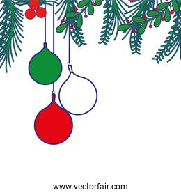 full color merry christmas balls with branches leaves