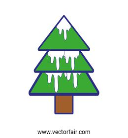 full color natural pine tree with snow design