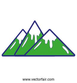 full color natural mountains with snow in the tip design