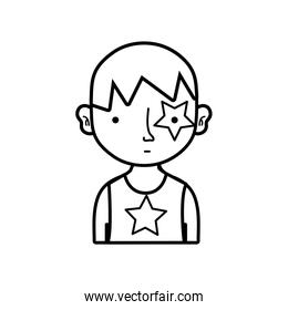 line boy rocker with star tattoo and hairstyle