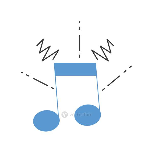 colorful musical note sign to rhythm sound