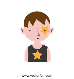 colorful boy rocker with star tattoo and hairstyle
