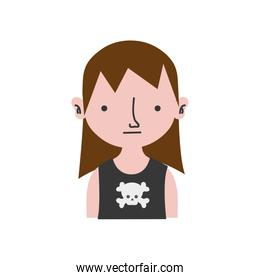colorful boy rocker with skull t-shirt and long hair