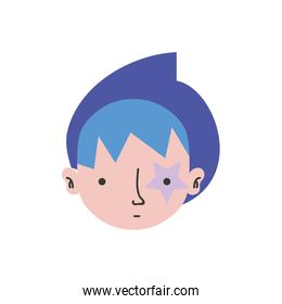 colorful boy head with star tattoo and turban
