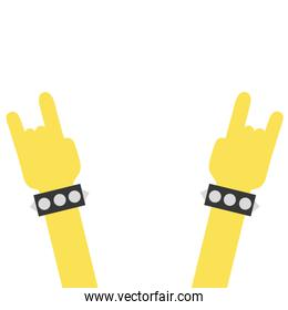 colorful hands up with bracelet and rock symbol