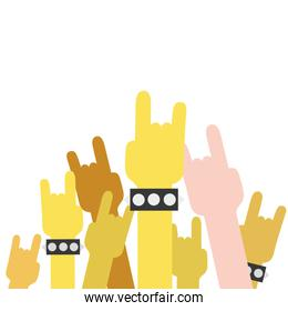 colorful hands up with rock gesture symbol
