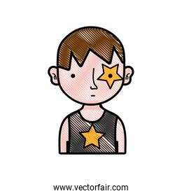 grated boy rocker with star tattoo and hairstyle