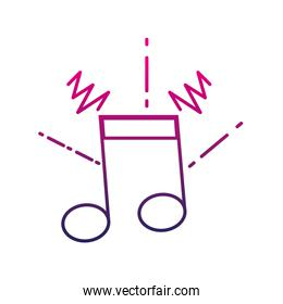 color line musical note sign to rhythm sound